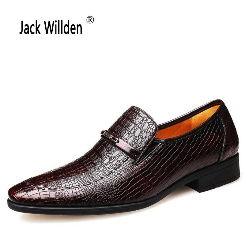 3f9c5a168 Compre Jack Willden Homens Sapatos De Couro De Negócios Dos Homens  Crocodilo Grão Vestido Sapatos De Casamento Sapato Social Homem Formal  Oxford De Trendone ...