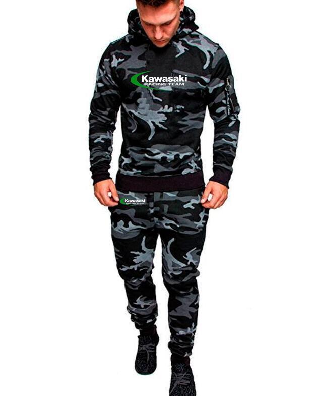 aedb32cc3 Ensemble de sport camouflage pour homme 2019 Kawasaki équipe sweat à  capuche en tête pantalon décontracté YAMAHA Suzuki sweat à capuche ...