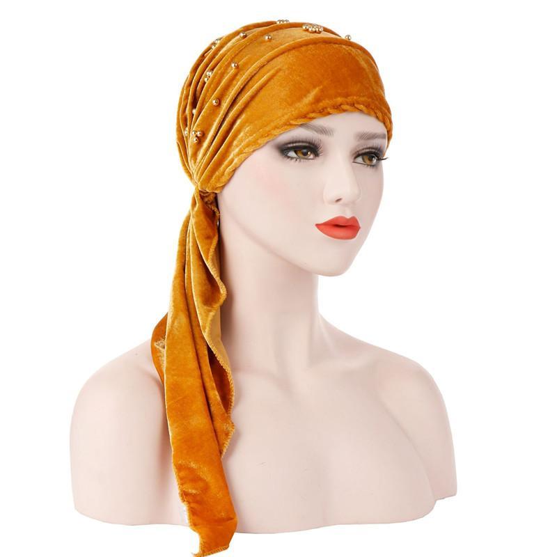Muslim Women Ruffle Bead Cotton Soft Stretchy Turban Hat Scarf Pre Tied  Cancer Chemo Beanies Headwear Head Wrap Hair Accessories Little Girl Hair  ... b65e8fcf5e1