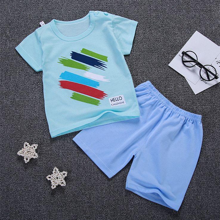 ecfc39e52c 2019 Summer Baby Boy Girl T Shirts Sets Children Clothes Boys Print ...