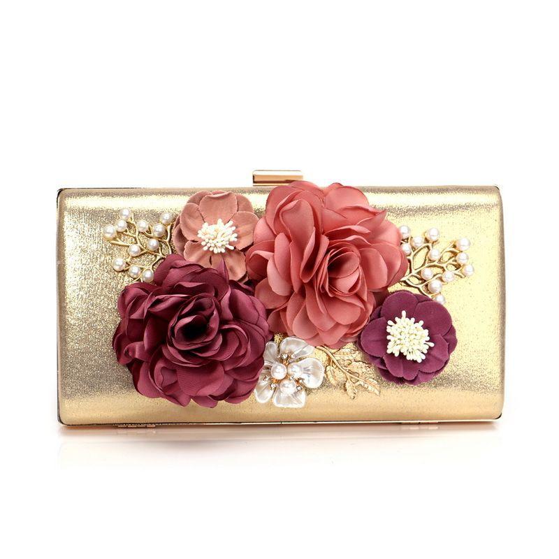 Exquisite Flower Women Gold PU Evening Clutch Bridal Purse Wedding Clutches  Minaudiere Bag Wedding Party Cocktail Diamond Handbag And Purse Weekend Bags  ... ae1747c92e2b