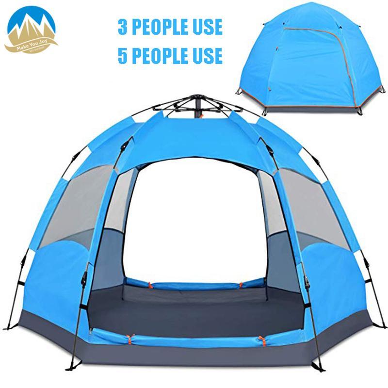 MYJ Extérieure Grande Tente Ouverte Automatique Rapide Automatique  Hexagonale 5 Personnes Ultra-Léger Maille Famille Loisirs Tente pour Camping