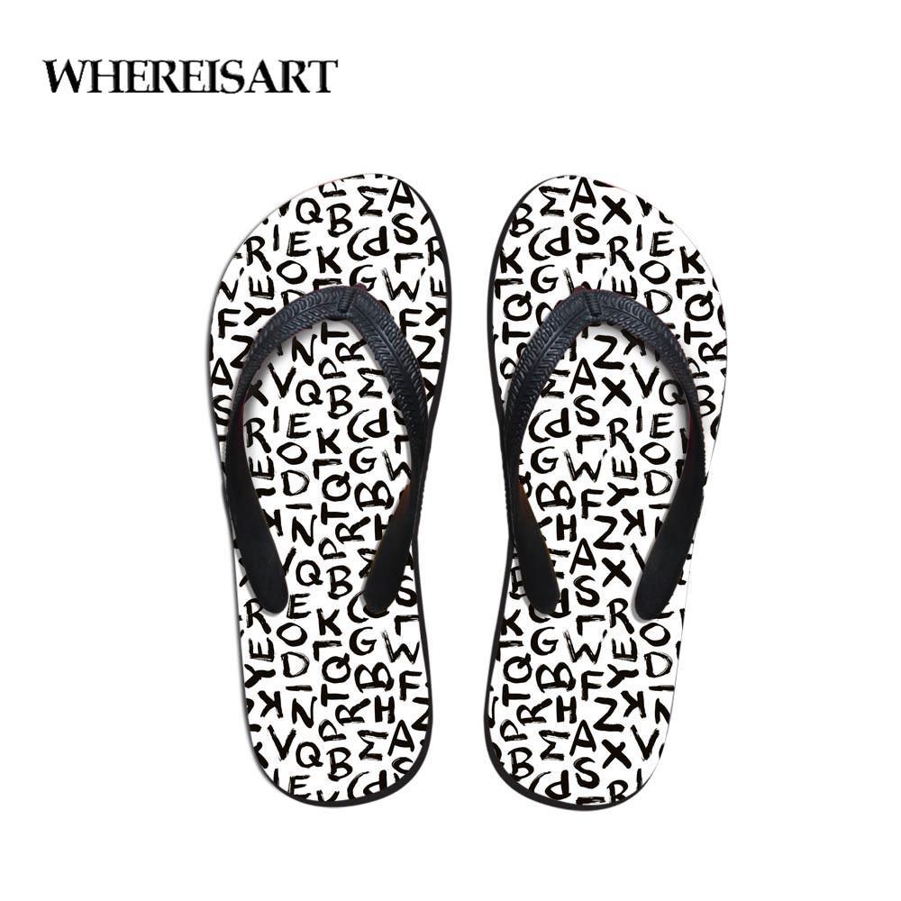 Zapatillas Sopa Alfabeto Chanclas Nuevo Verano Sandalias Whereisart Mujer Lindas Juventud Dibujos Playa Impresión Animados vmywO8nN0