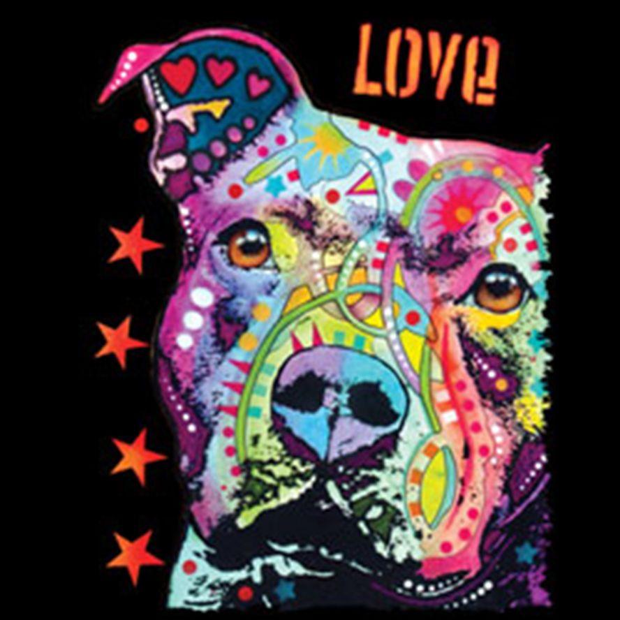Love Pitbull Puppy Dog Bright Colors Art Design Print Animal Lovers T-Shirt  Tee denim clothes camiseta t shirt