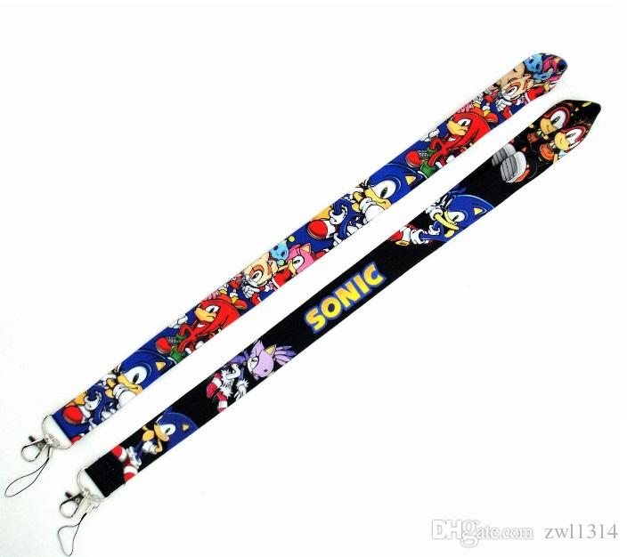 Free shipping 100pcs Cartoon Game SONIC THE HEDGEHOG Neck Lanyard Multicolor Phone Accessories Cell Phone Camera Neck Straps Lanyard Gifts