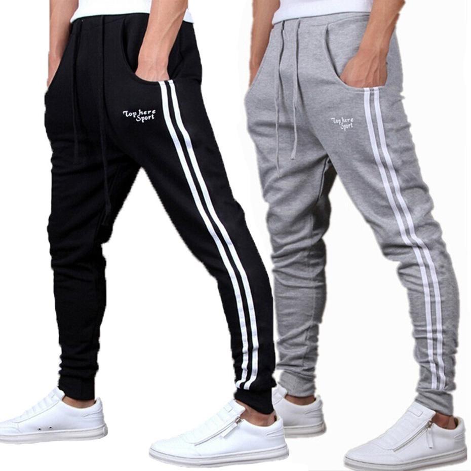 Compre Primavera Verano Pantalones Para Hombre Moda Pantalones De Chándal  Para Hombre Joggers De Rayas Slim Fitted Pantalones Gimnasios Ropa Más El  Tamaño ... a494ac59fd6e