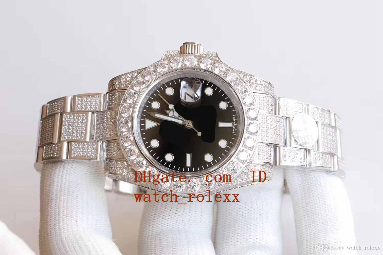 Mens Luxry selling SF Factory 40mm 116610 SS316L Full Diamond Beze Bracelet ETA 2813 Movement Automatic Mens Watch Watches 2020