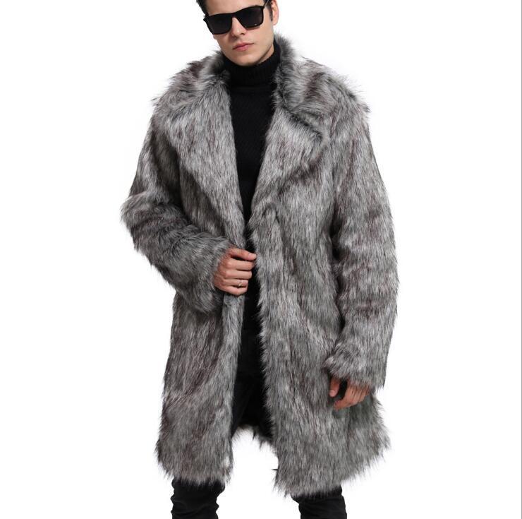 Fashion popular men s faux fur suit collar long coat fur coat men 2019 autumn and winter new singer stage costumes S 4XL