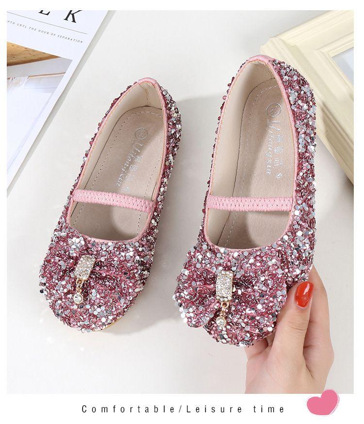 7dcd9d58208f Pink Shiny Cinderella Sequins Shoes Designer Fashion Luxury Brand Girl  Shoes Designer Shoes Full Sequins Kids Formal Wear With Big Bow Girls  Slippers Girls ...