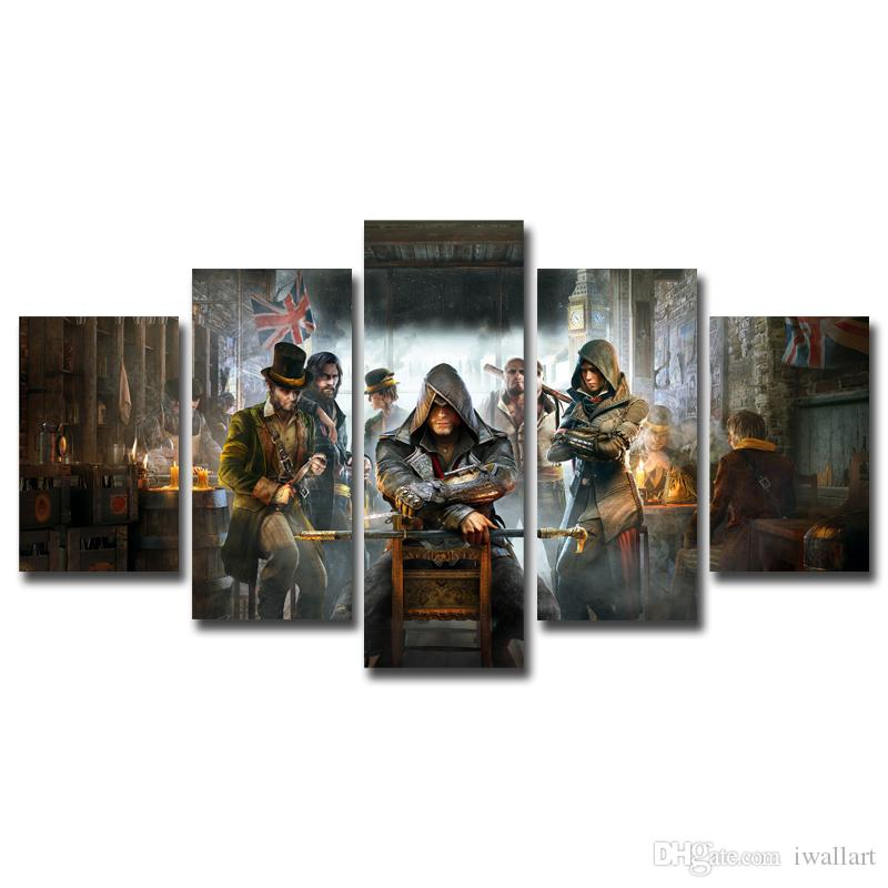 The Assassin of Creed Super Hero 5 Pieces HD Canvas Posters Prints Wall Art Painting Pictures For Living Room Modern Home Decoration