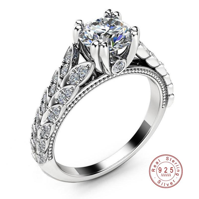 Fashion Sparkling CZ Rings For Women Girls Jewelry Anniversary Gift Real  925 Sterling Sliver Anel Bagues Femme Engagement Ring
