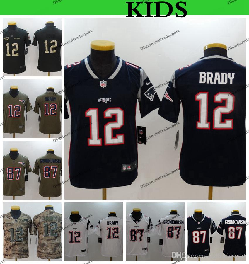online store 21793 5eea4 Youth New EnglandS Kids Patriots 12 Tom Brady 87 Rob Gronkowski Football  Jerseys 2019 Camo Salute to Service Stitched Football Shirts S-XL