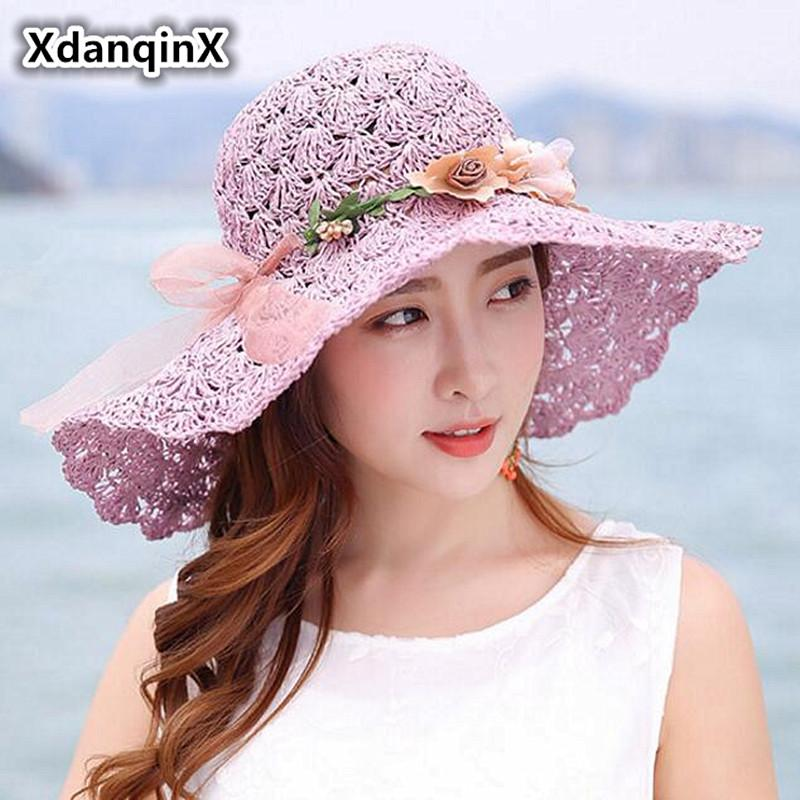 193832fdf wholesale Summer Women's Straw Hat Foldable Oversized Visor Sun Hats For  Women Anti-UV Fashion Headdress Decorated Beach Hat