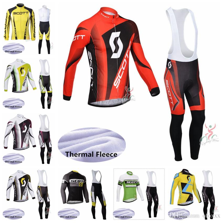 SCOTT team custom made Cycling Winter Thermal Fleece jersey bib pants sets Men quick dry long sleeve bib trousers sports jersey sets S861