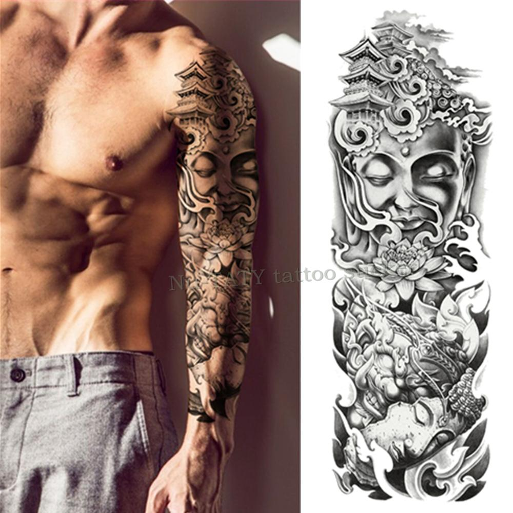 Mechanical Iron Arm Rose Large Arm Sleeve Tattoo Waterproof ...