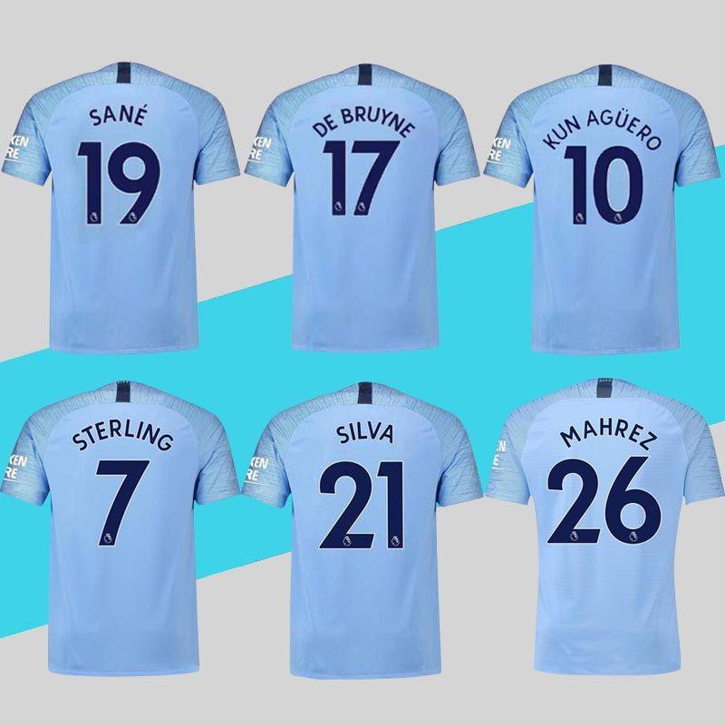Manchester City Jerseys 2018 2019 Soccer Jersey Home KUN AGUERO Mahrez Sane  Sterling Camiseta De Fútbol Envío De DHL Por Encima De Por Chenle258 1820e30d03c29