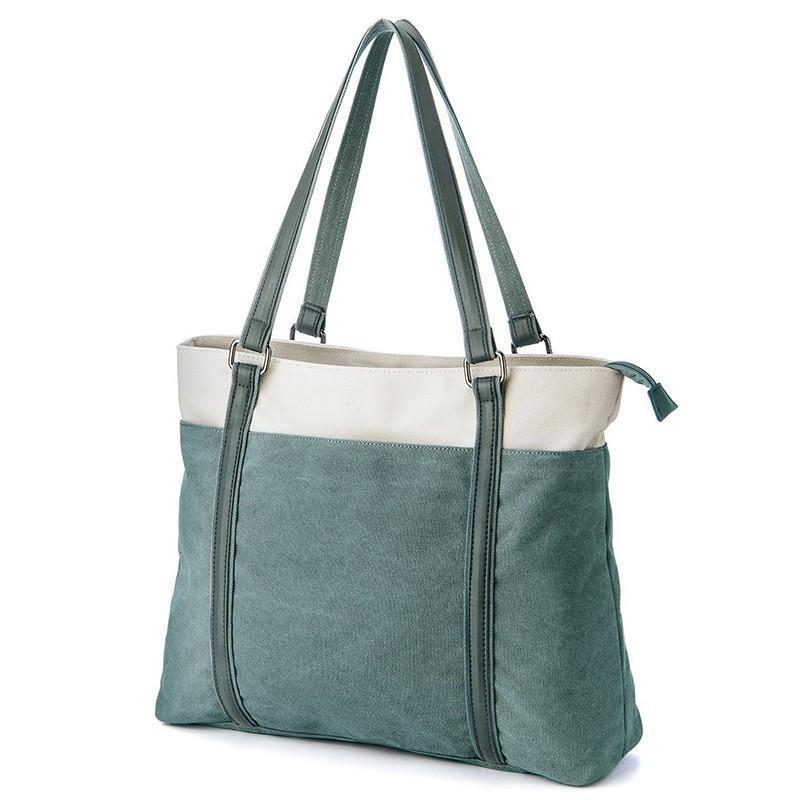 Fashion Literary Handbag Women Contrast Canvas Shoulder Bag Women ... 67a8511678e2