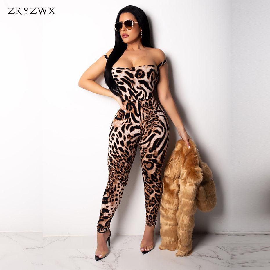 8ffd29124f02 2019 ZKYZWX Women Bodycon Jumpsuits New Leopard Print Strapless Lace Up  Rompers Womens Jumpsuit Sexy Leopard Slim Fit Ladies Overalls From Vikey16