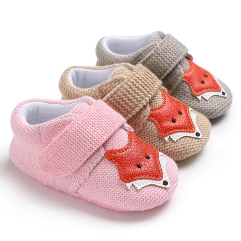 6d4c08fea63 2019 Knit Fox Baby Girl First Walkers Shoes Animal Cartoon Cute Newborn Baby  Shoes Cotton Soft Bottom Boys 0 18M M From Phononame