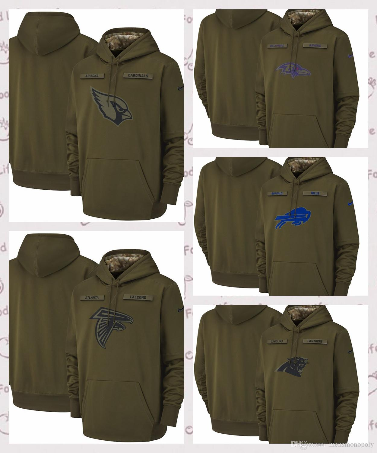 best cheap 3e4f7 f8a6c Carolina Panthers Salute to Service Sideline Therma Performance Hoodie  Olive 2018 new army green men's hoodie rugby team