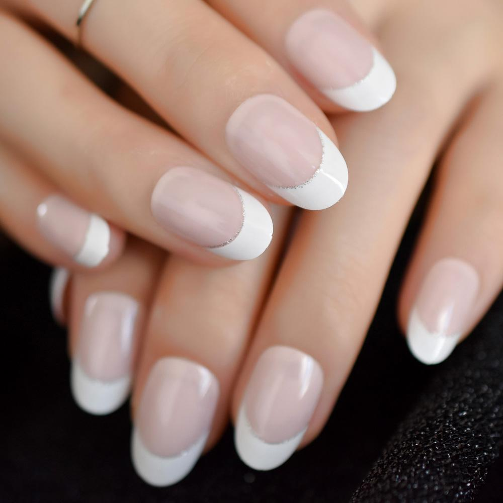 Oval White Nature Artificial Nails French Flat Medium