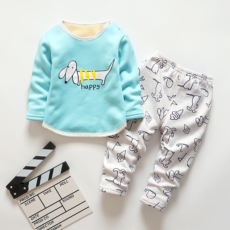 3514fb7271 Good Quality Baby Boys Warm Pajamas Sets Children Autumn Winter Cotton Plus  Velvet Sleepwear Suit Kids Boys Cartoon Nightclothes Set Online with ...