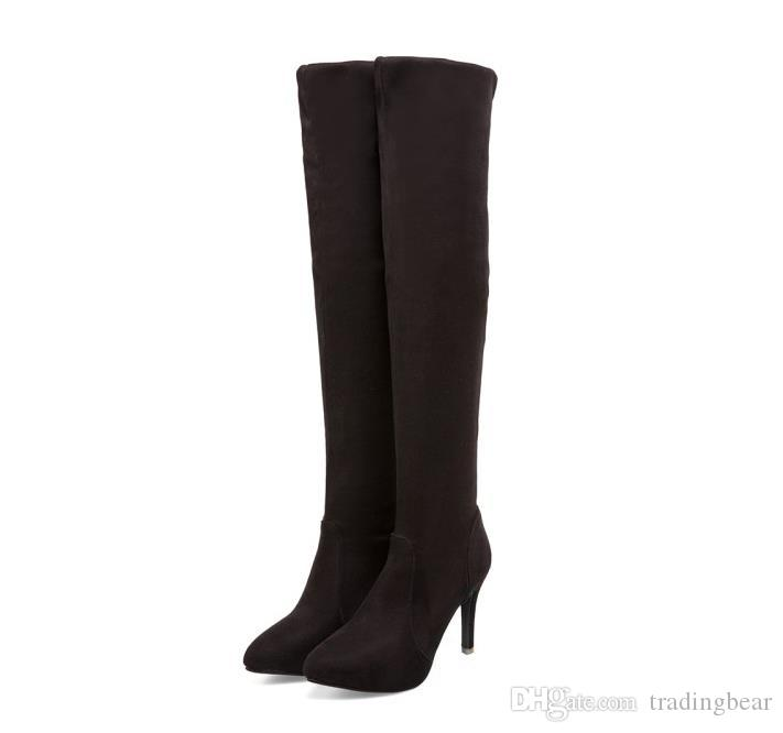 Fashion luxury designer women over the knee thigh high boots synthetic suede boots winter big small size 33 to 42 43