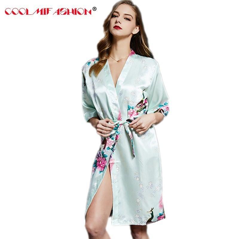 ebae8e74 Bata bata de baño batas de bata Kimono Pijamas vestidos para mujer bata de  casa Vestido de seda Terry albornoz ropa de dormir chemise de nuit femme