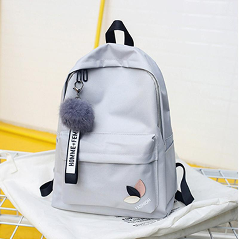 3411748111fe Black Green Girl School Bags for Teenage Backpack Women College Wind  SchoolBag Female High Student Bookbag Fashion Hairball 2019 School Bags  Cheap School ...