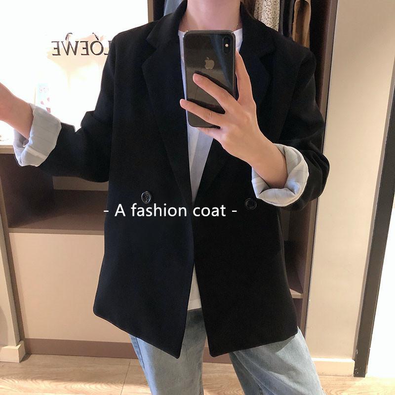 a441544c8 Mooirue Printemps Femmes Blazer Noir Slim Coréen Revers Costume Veste  Droite Cardigan Femme Manteau