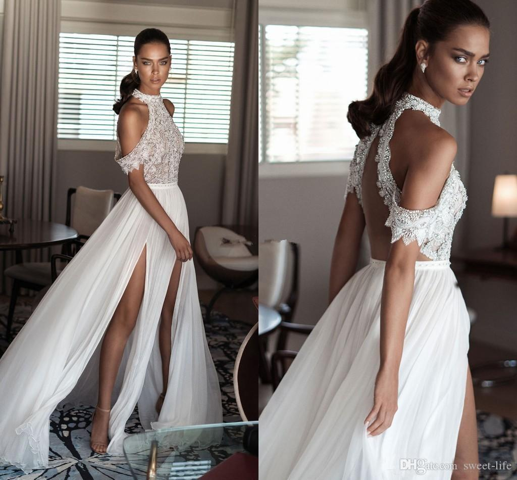 Elihav Sasson Bohemia 2019 Newest Sexy Beach Wedding Dresses High Neck Off Shoulder Delicate Beaded Chiffon Split Backless Wedding Gown