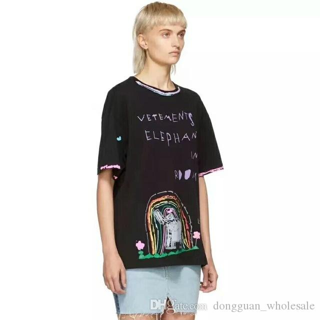 b551c654465 2019 Summer Vetements ELEPHANT IN THE ROOM Rainbow Letter Printed Women Men  Short Sleeve T Shirt Hip Hop Fashion Cotton Tee Joke T Shirt Coolest Tee  Shirts ...