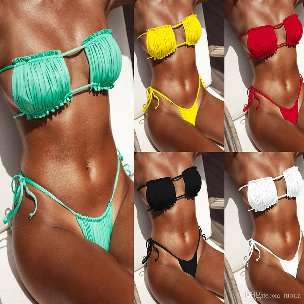 FDBRO 2019 New Hot High Cut Swimwear Frauen Mini-Badeanzug weiblicher Badeanzug Micro Bikini Set Push Up Thong Biquini Bikini Freies Verschiffen