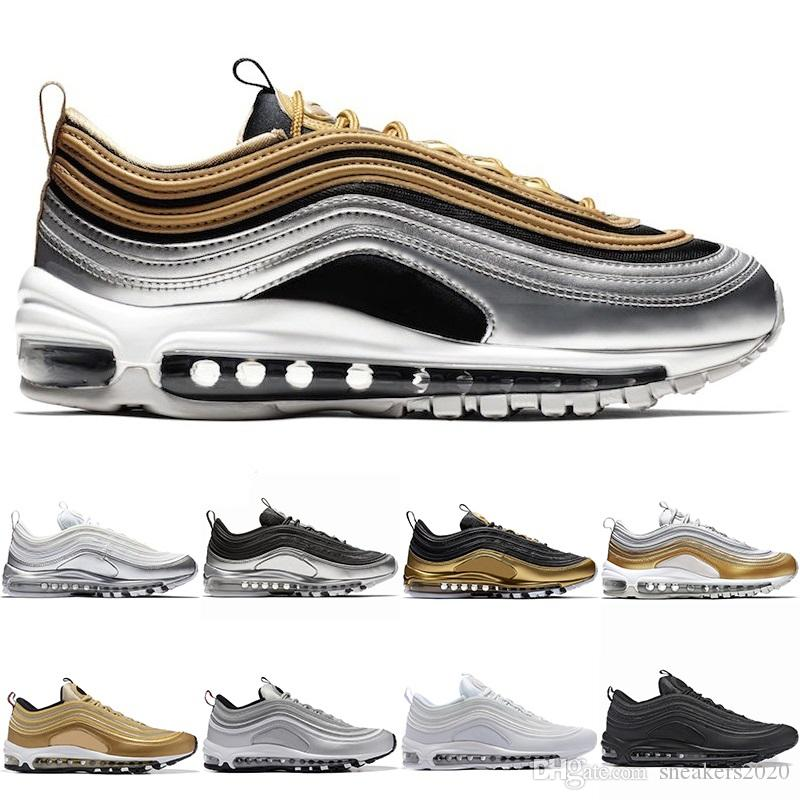 9946cc7e4 2019 97 Metallic Pack Running Shoes For Mens Women Run Triple White Black  Silver Gold Bullet South Beach Men Trainer Sport Size 5.5 11 From  Sneakers2020