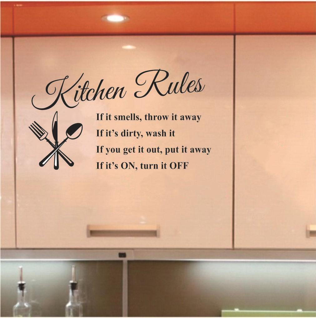 Acheter Règles De Cuisine Sticker Mural Décoration Lettres Amovible PVC  Stickers En Verre De Mur DIY Cuisine Home Decor 30CM X 58CM De $1.84 Du  Fahome ...