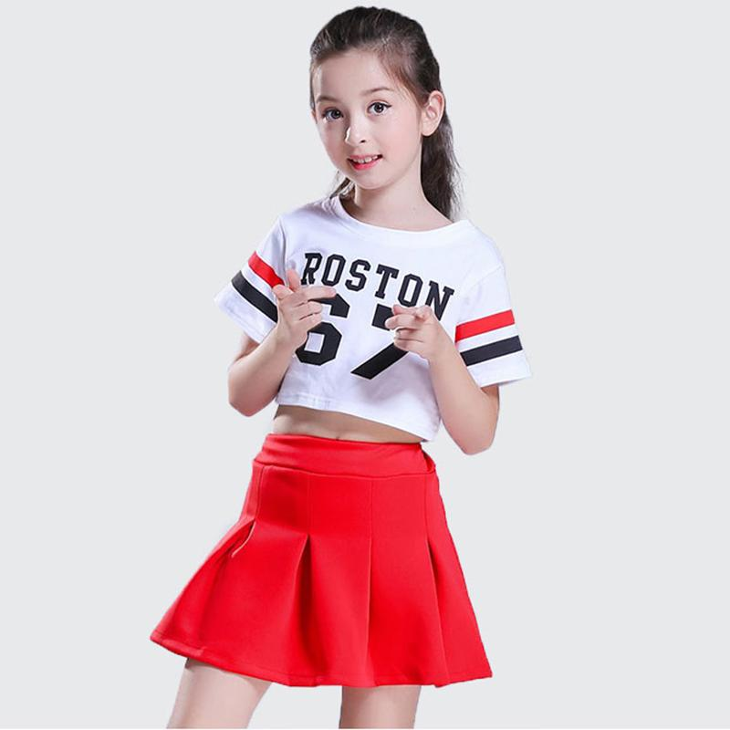 7e0ed5772d4 3pcs Children Street Dance Girl Hip Hop Costume White T-shirt Red Skirt Kid  Jazz Costume Cheerleading Kid Cheerleader Uniforms