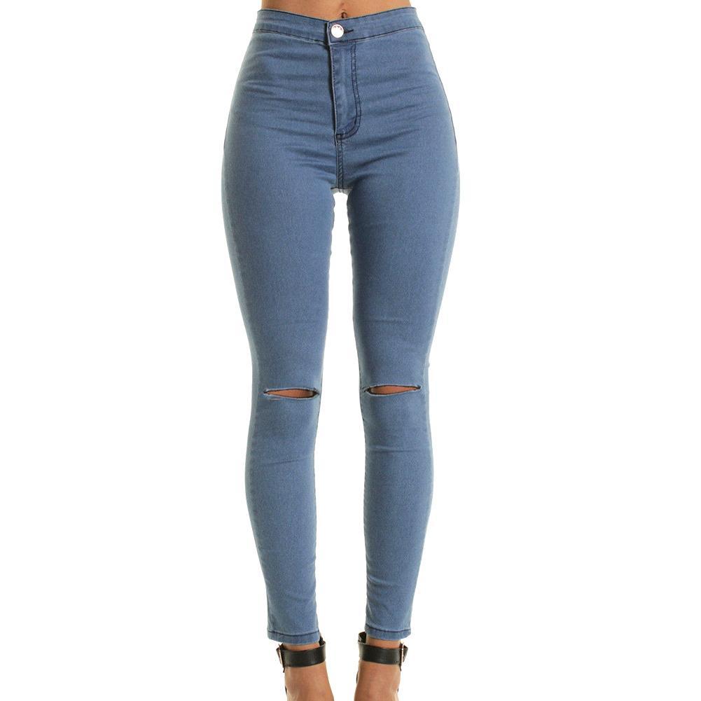 0986032555 Compre Nueva Moda De Verano Estilo Agujero Blanco Ripped Jeans Mujeres Denim  Fresco Pantalones De Cintura Alta Capris Mujer Flaco Negro Casual Jeans A  ...