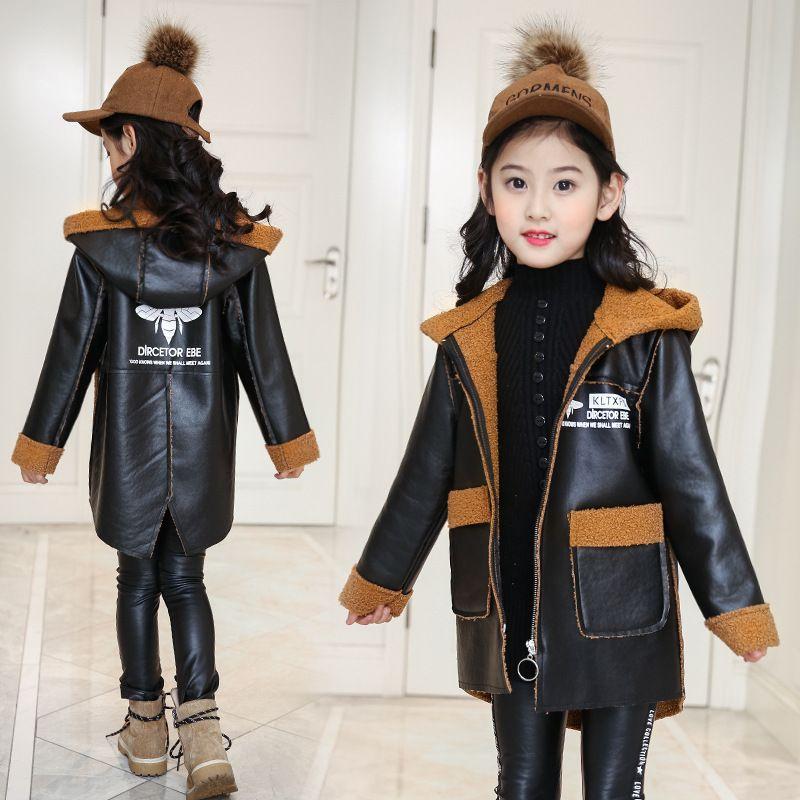 Casual Pu Samt Mantel Mädchen Boy Outwear Winter Plus Herbst Leder Windjacke Jacken Mit Jacke Kapuze 018 Langen Kinder Big rtCBxshQdo