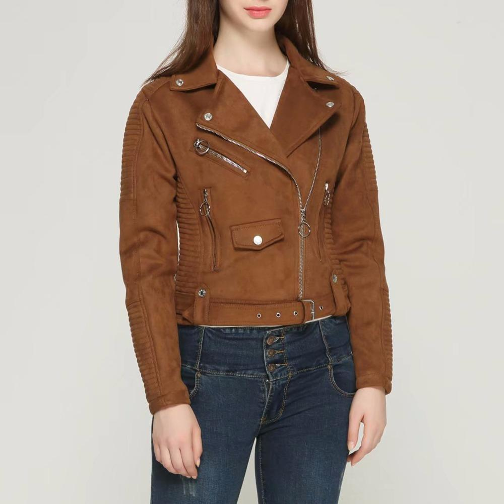 d4e24e4ad0a2f3 2019 2018 New Autumn Winter Women Motorcycle Faux PU Leather Brown ...