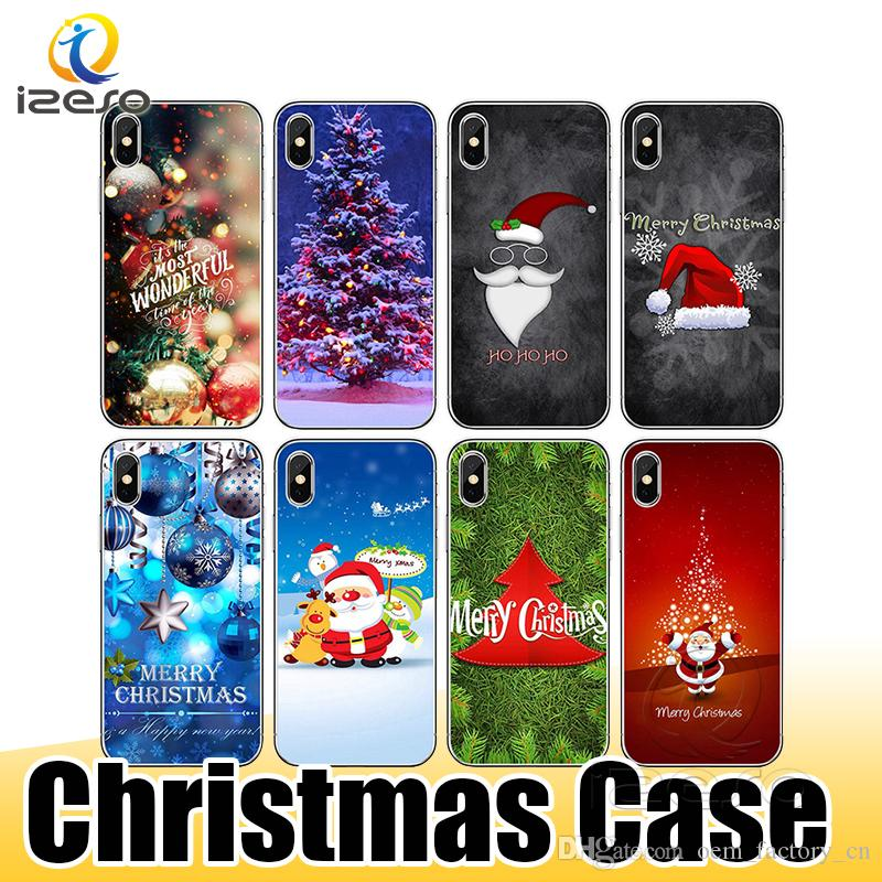 For iPhone 11 XS Max XR X 8 Plus Christmas Theme Pattern Phone Case TPU Hot Sale Mobile Phone Back Cover Shell izeso