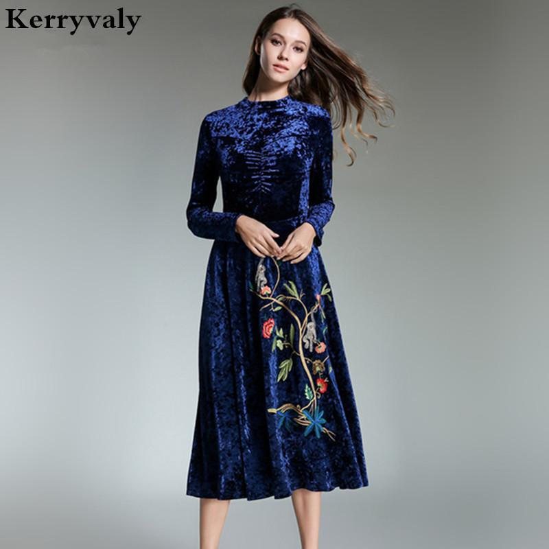 Elegant Women Long Embroidered Velvet Dress Vestidos Mujer Invierno 2018  Evening Party Red Christmas Retro Maxi Dress K3831 D19011501 Short Prom  Dress ... d1f1bfb1bd7f