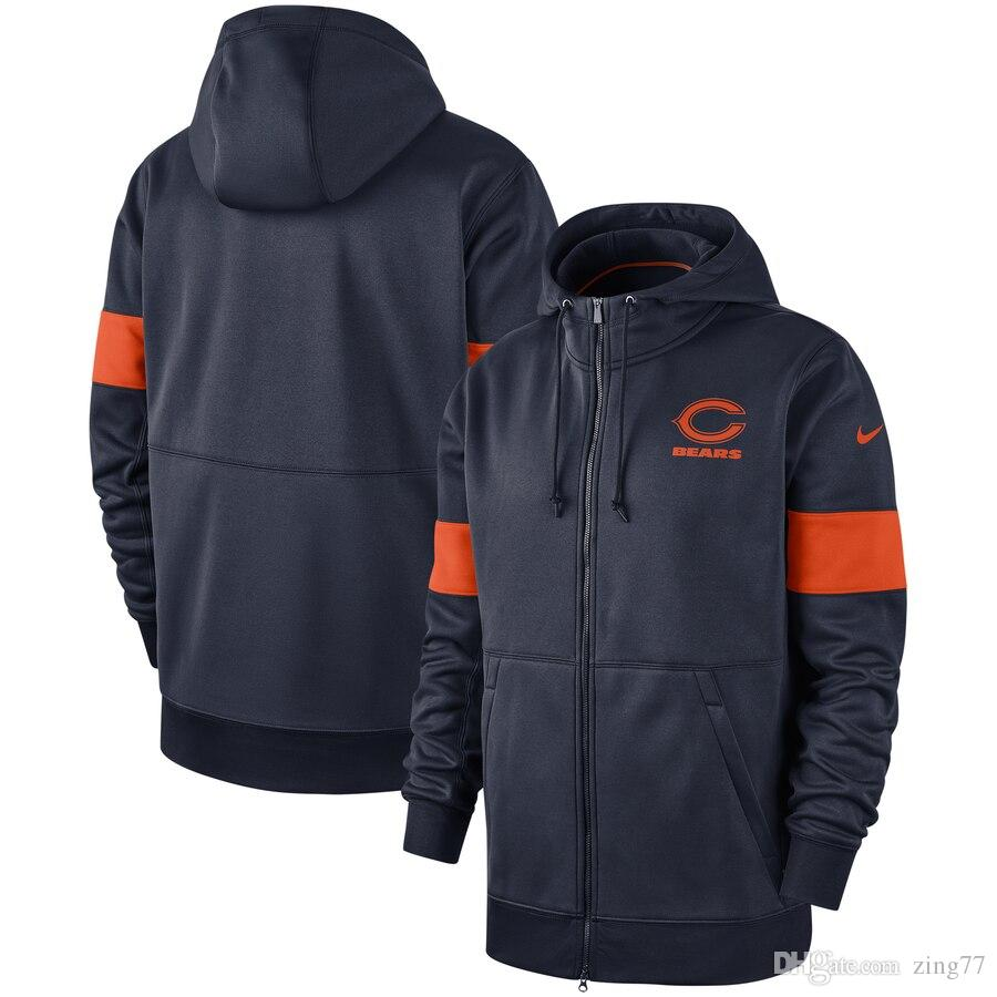 Mens Chicago Vintage Bears Sideline Performance Full-Zip Hoodie - Navy Sweatshirt