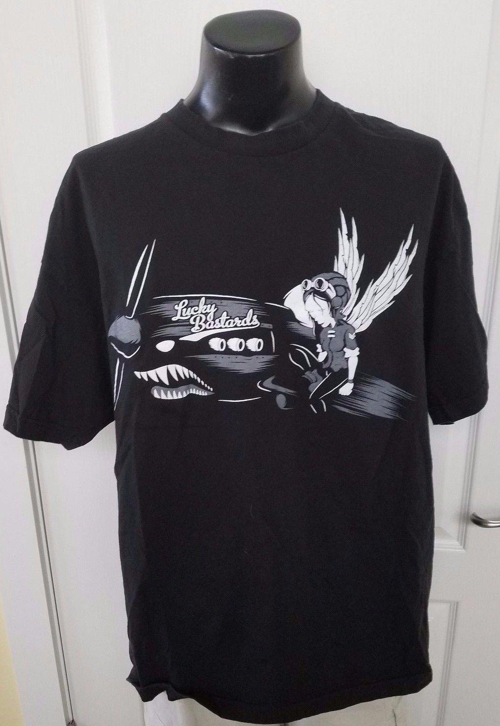 7eb6f1664 Compre Sorte Bastards Guerra Avião Piloto Asas De Anjo Anime Camiseta Preta  2XL XXL Raro De Customtshirt201805