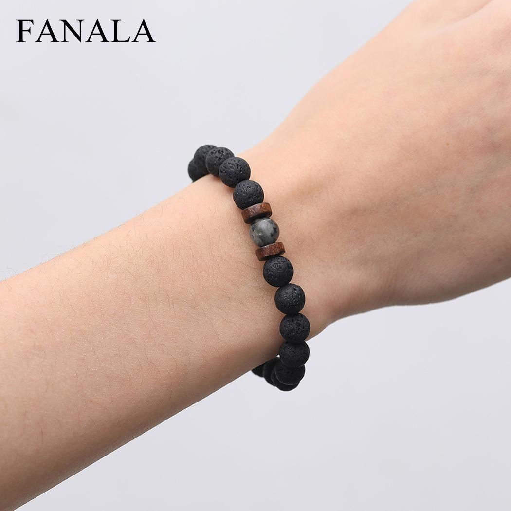 e27967bea2964 Natural Lava Rock Stone Beads Strand Bracelet Wooden bead Accessories Black  Rock Stone Men/Women Jewelry Gift