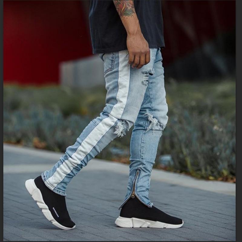 12a4a1a4 HZIJUE homme denim nueva moda pantalones hombre jeans ajustados Hombres  streetwear jeans rotos para hombre Pantalón de abajo con cremallera hip hop