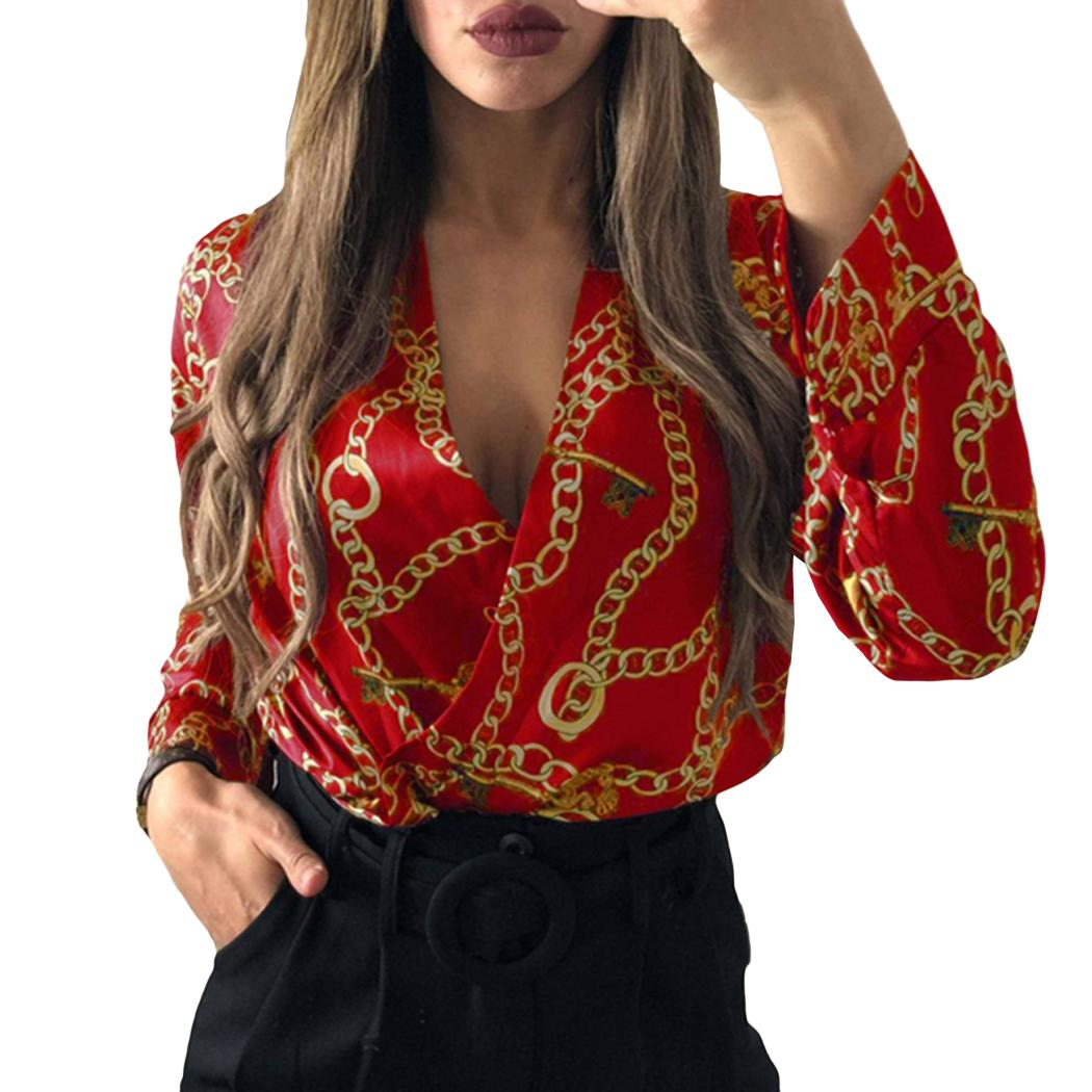 Sexy Silk Bodysuits Women Chain Tops Deep V-Neck Jumpsuits Long Sleeve Playsuits Rompers Office Ladies Printed Overalls Female