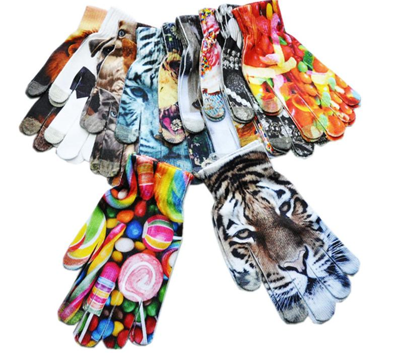 3D Printed Women Gloves Cartoon Animal Tiger Cat Lion Glove Capacitive Touch Screen Flower Knitted Gloves Outdoor Warm Mittens 12 Designs