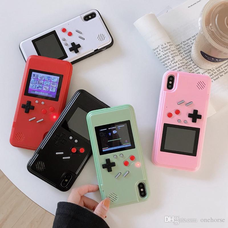 المحمولة الرجعية لعبة وحدة غلاف الهاتف gameboy مع اللون عرض 36 أنواع 3d الرجعية ألعاب الفيديو أجهزة الهاتف حالة الهاتف آيفون 11 6 ثانية 7 8 زائد