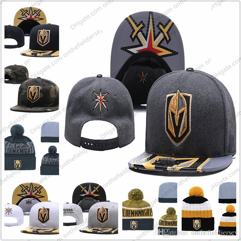 bb59f0b1df6177 Men's Vegas Golden Knights Ice Hockey Knit Beanie Embroidery Adjustable Hat  Embroidered Snapback Caps Black Gray White Stitched Knit Hat