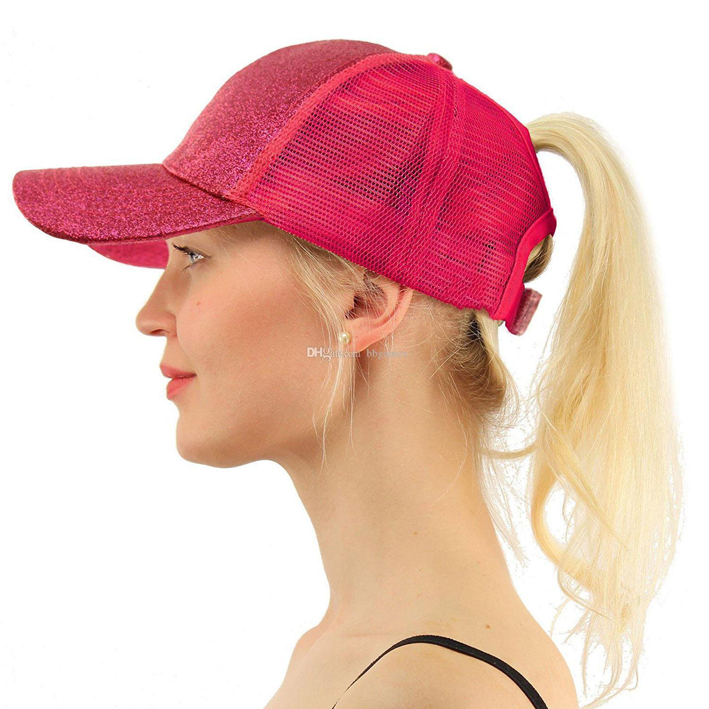 571fad4e1c 2019 Women Glitter Ponytail Ball Cap Messy Buns Trucker Ponycaps Plain  Baseball Visor Cap Glitter Ponytail Hats Snapbacks K42 From Bbgames, $1.89  | DHgate.